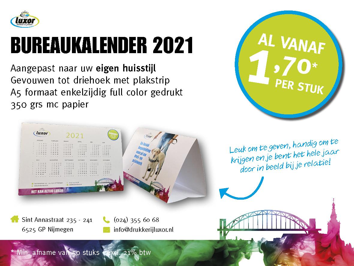 Bureaukalender 2021: op maat gemaakt al voor €1,70 p.s.